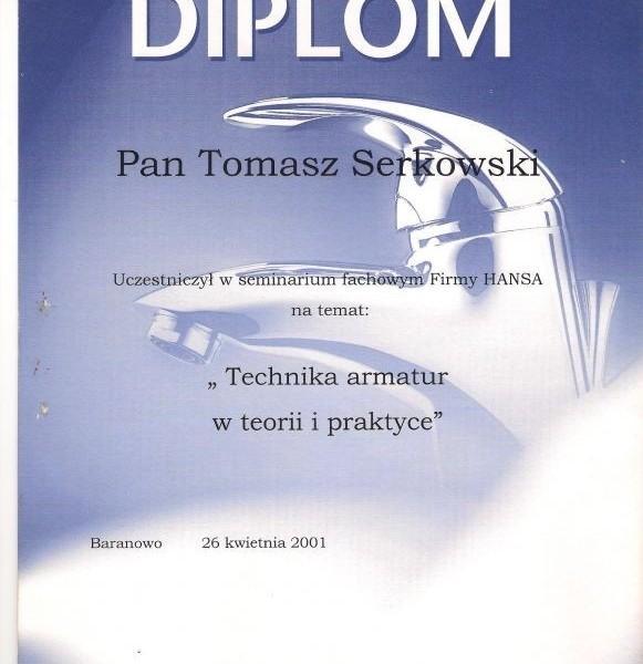 Dyplom HANSA Tomasza Serkowskiego