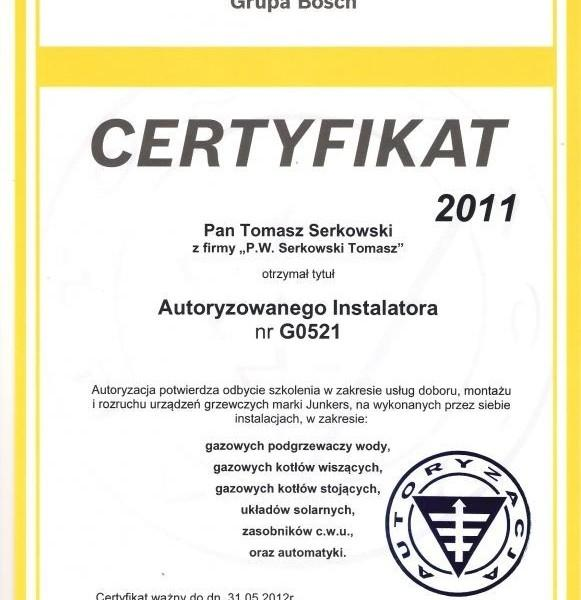 certyfikat Junkers Tomasza Serkowskiego