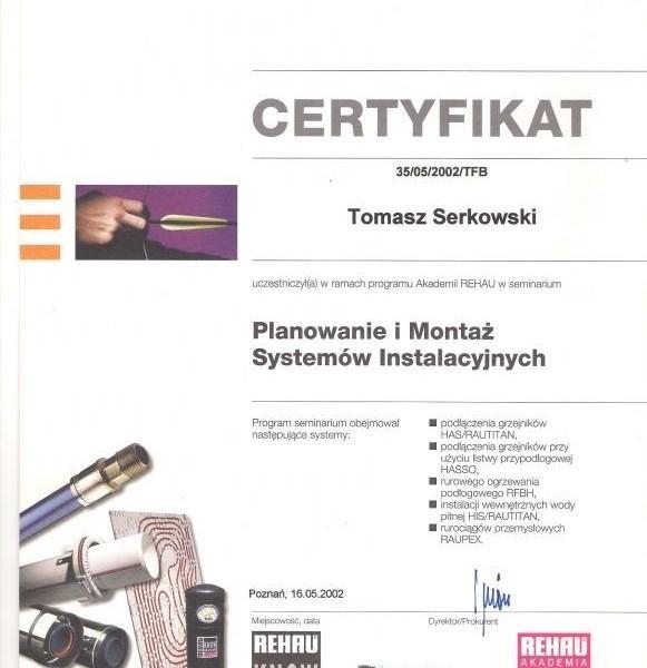 Certyfikat Rehau Bartłomieja Szymerskiego