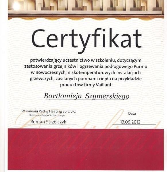 certyfikat Purmo Bartłomieja Szymerskiego