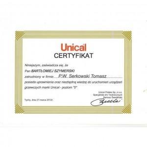 UNICAL certyfikat Bartłomieja Szymerskiego