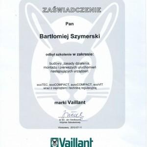 certyfikat Vaillant Bartłomieja Szymerskiego