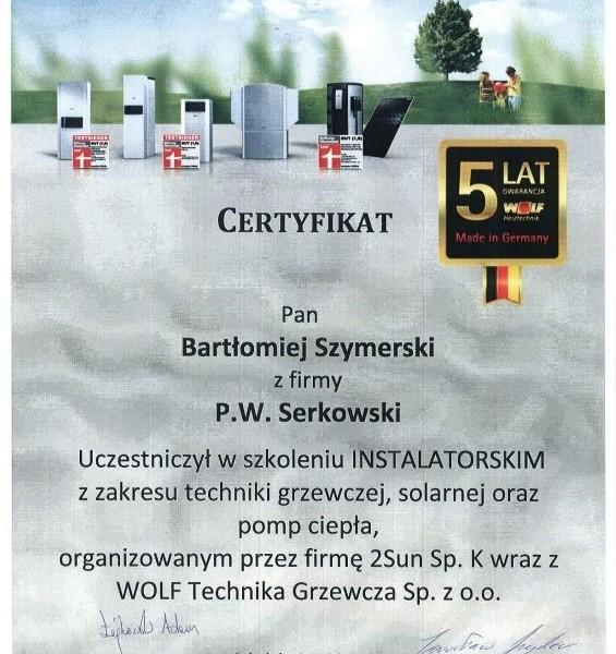 certyfikat uczestnictwa w szkoleniu instalatorskim z zakresu techniki grzewczej
